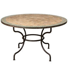 Moroccan Round Dining Mosaic Green Tile Table