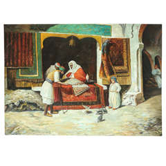 Orientalist Large Oil on Canvas, The Rug Dealer