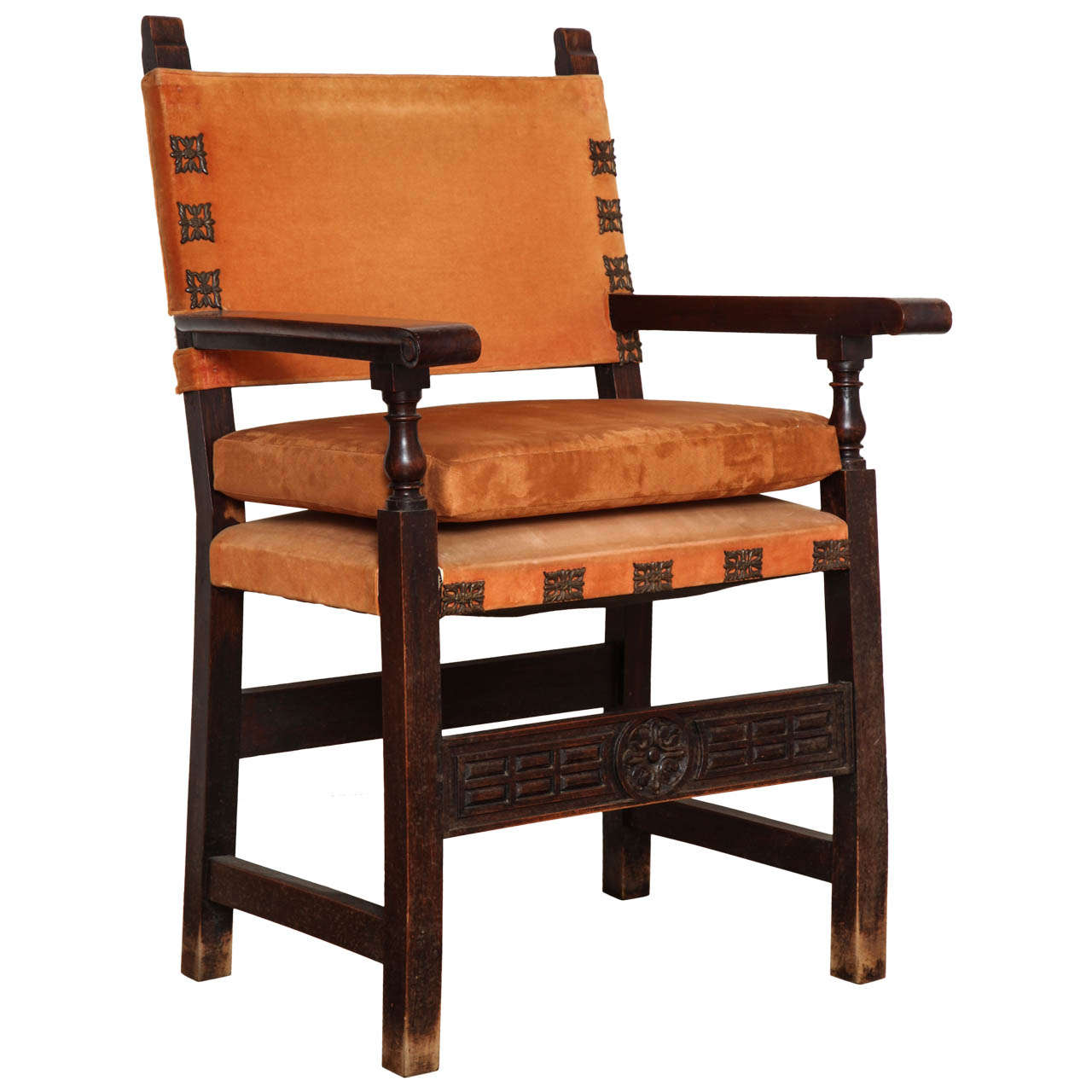 Spanish baroque oak open armchair at 1stdibs for Spanish baroque furniture