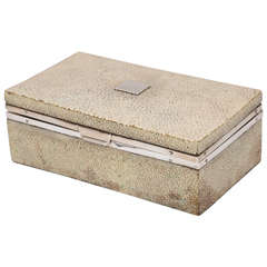 Art Deco Sterling Silver-Mounted Shagreen Table Box