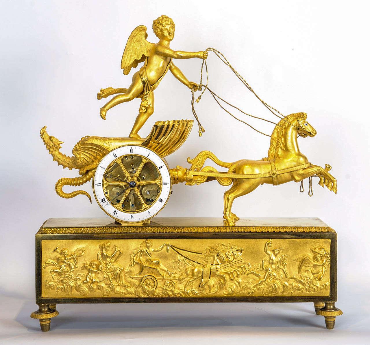 A Charming French Empire Ormolu Chariot Clock Circa 1810