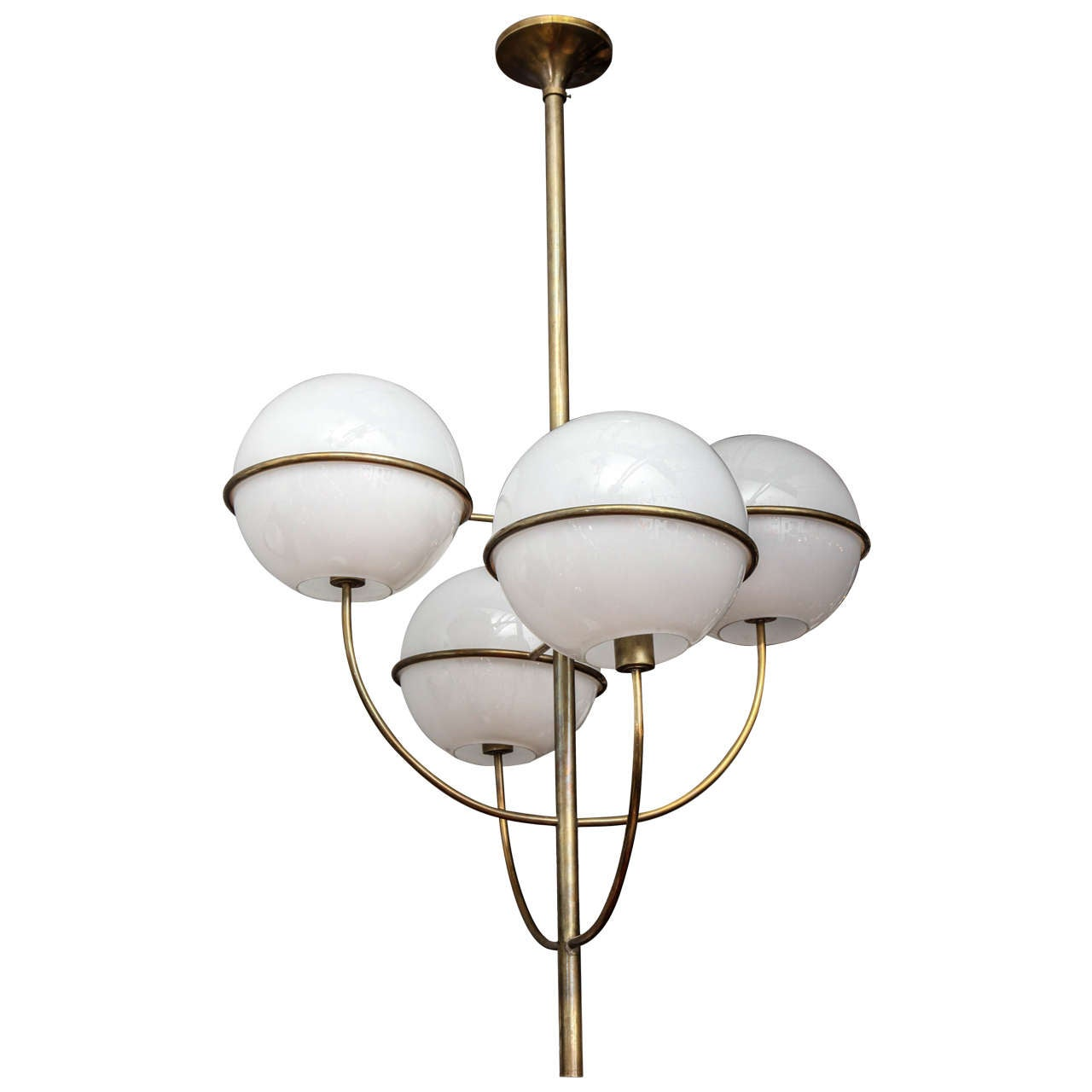 grand mid century modern four globe chandelier by gino. Black Bedroom Furniture Sets. Home Design Ideas
