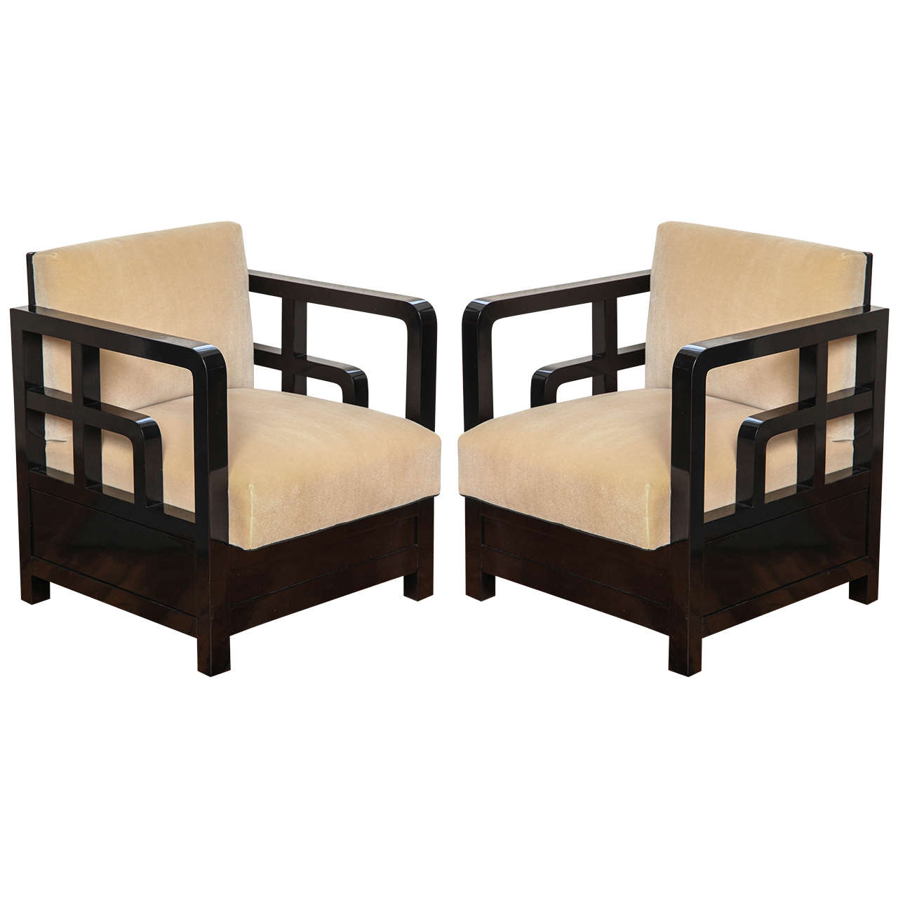 Pair of French Art Deco Asiatic Armchairs