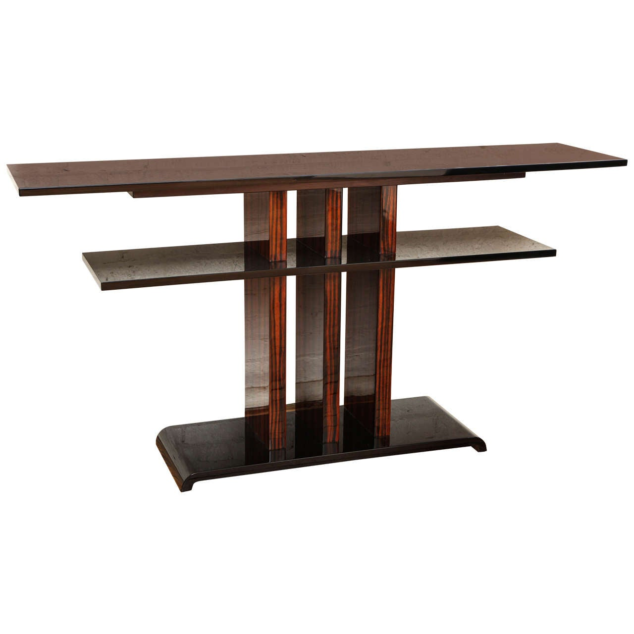 Art deco double shelf console table at 1stdibs art deco double shelf console table 1 geotapseo Choice Image