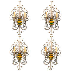 Set of French Double Light Sconces, circa 1930s