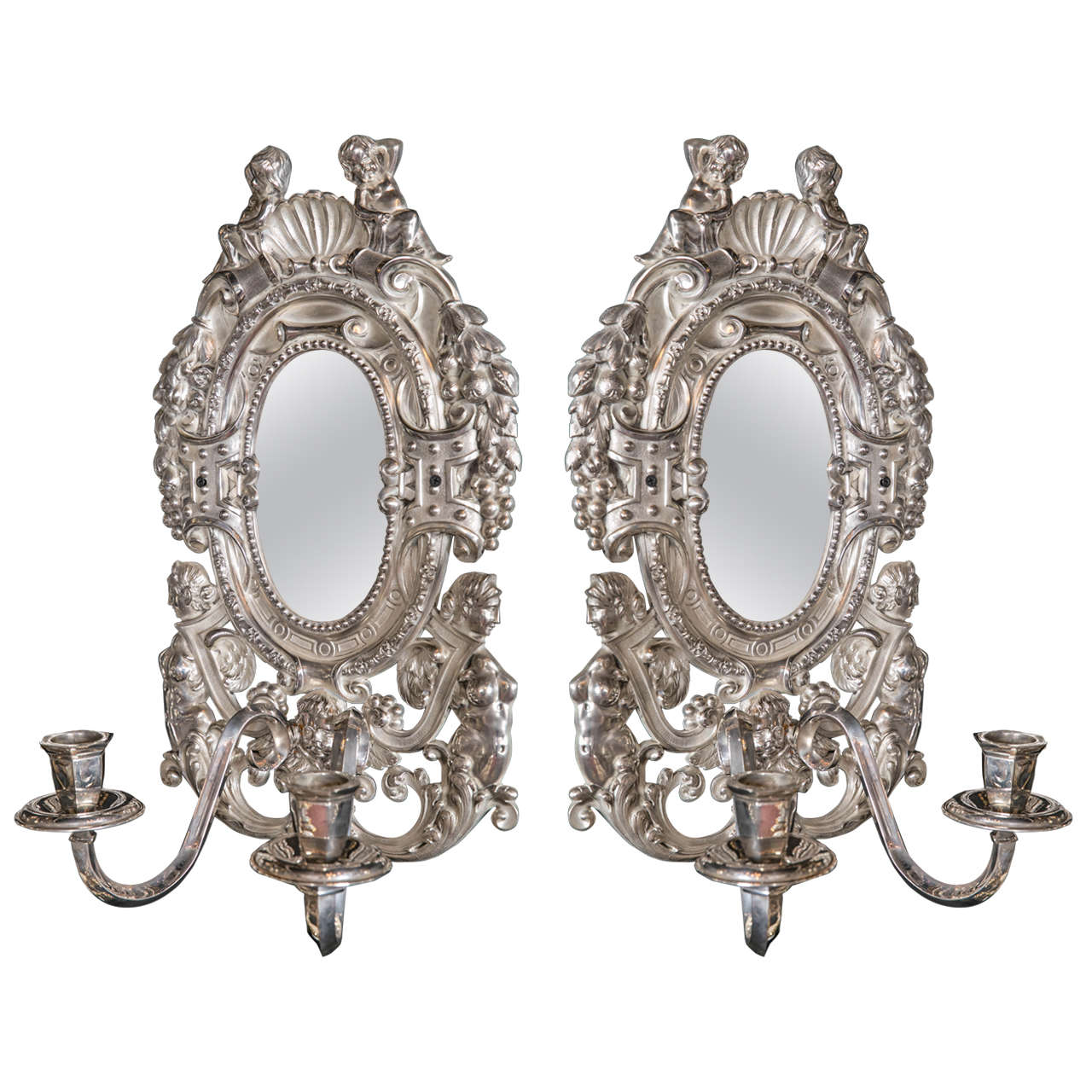 Pair of Large circa 1920's Silver Plated Caldwell Sconces
