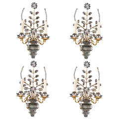 Pair of circa 1940s French Double Light Sconces