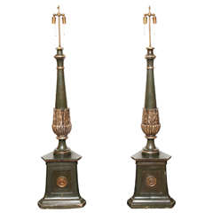 Pair of 19th Century Neoclassical Torcheres Converted to Lamps