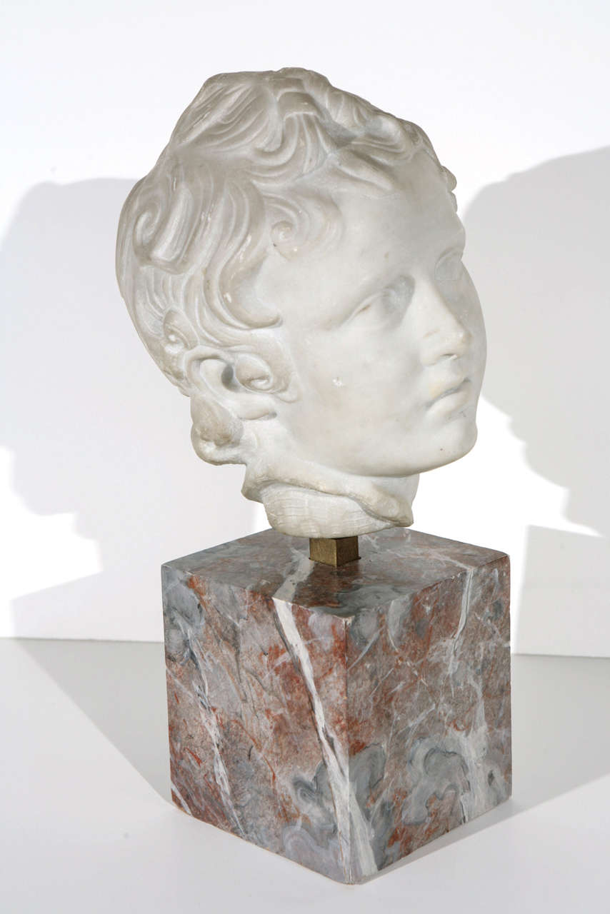 Sensitively hand carved, Italian, solid Carrara marble bust of a young man with flowing locks. Mounted on a custom, hand painted faux rouge marble base.