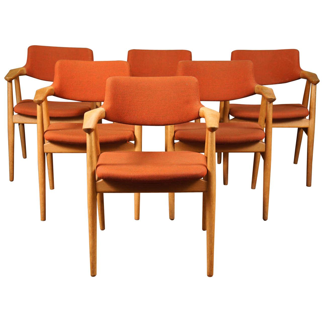Orange dining chairs - Six Danish Modern Dining Chairs By Erik Kirkegaard 1