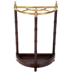 Brass & Faux Bamboo Umbrella Stand