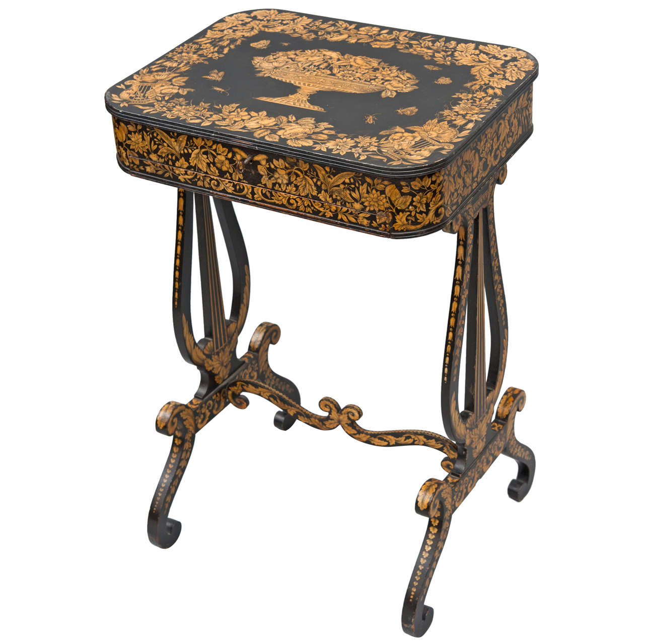 A Good Regency Pen Work Sewing Table