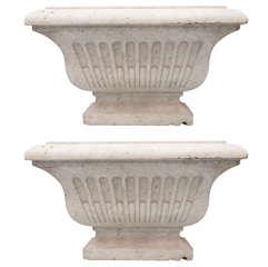 Impressive Pair of 19th Century White Marble Wine Cisterns / Jardineres