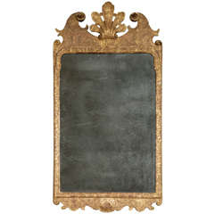 A George I Carved Giltwood and Gesso Wall Mirror