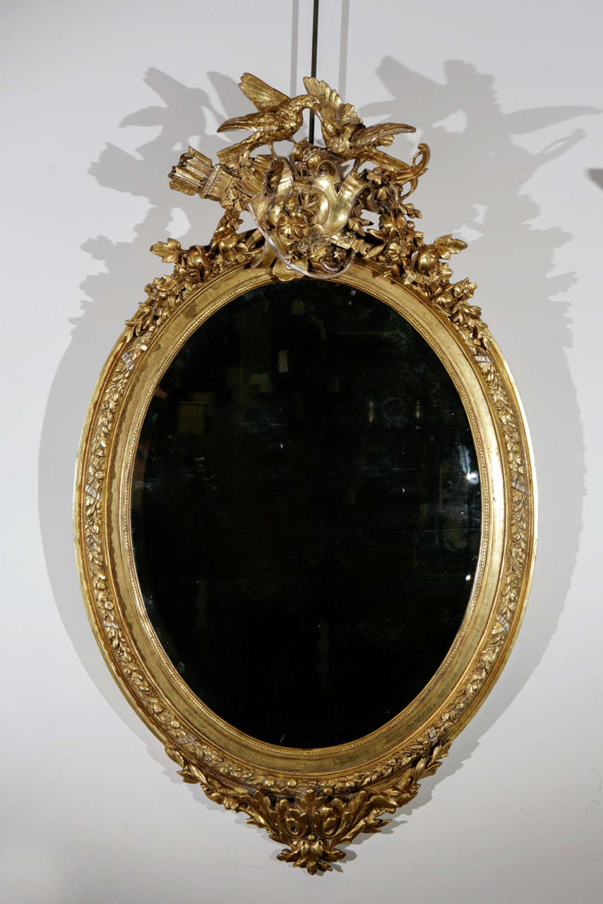 19th C Wall Mirror With Love Birds For Sale At 1stdibs