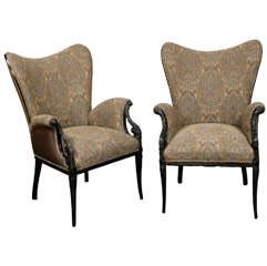 Pair Wing Arm Chairs