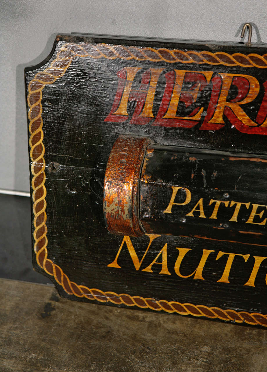 Vintage Hand Painted Nautical Opticians Sign For Sale At
