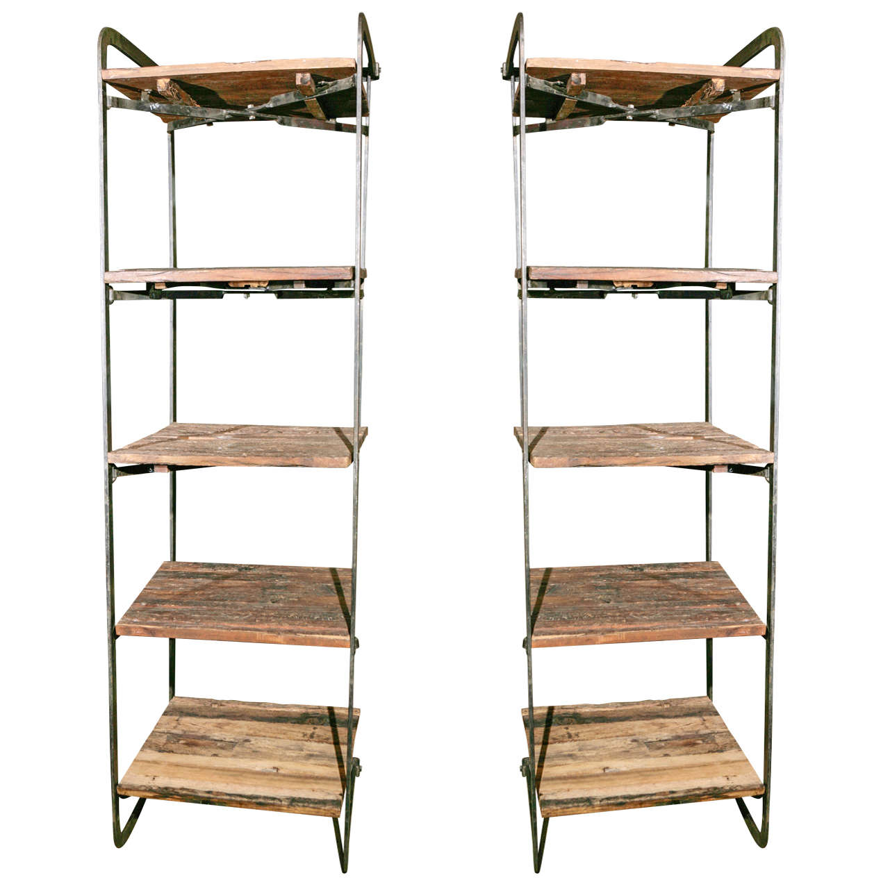 Wonderful image of Pair of Wrought Iron Stands with Hand Hewn Shelves at 1stdibs with #956636 color and 1281x1280 pixels