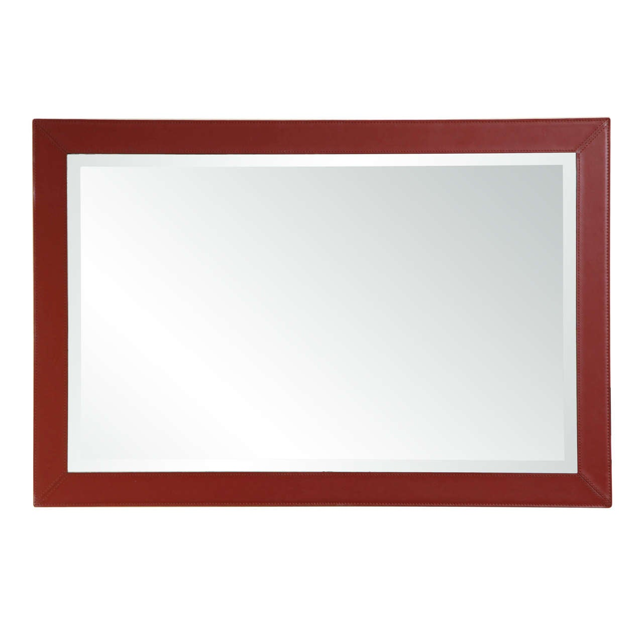 Saddle stitched stylish leather framed wall mirror at 1stdibs saddle stitched stylish leather framed wall mirror 1 amipublicfo Gallery
