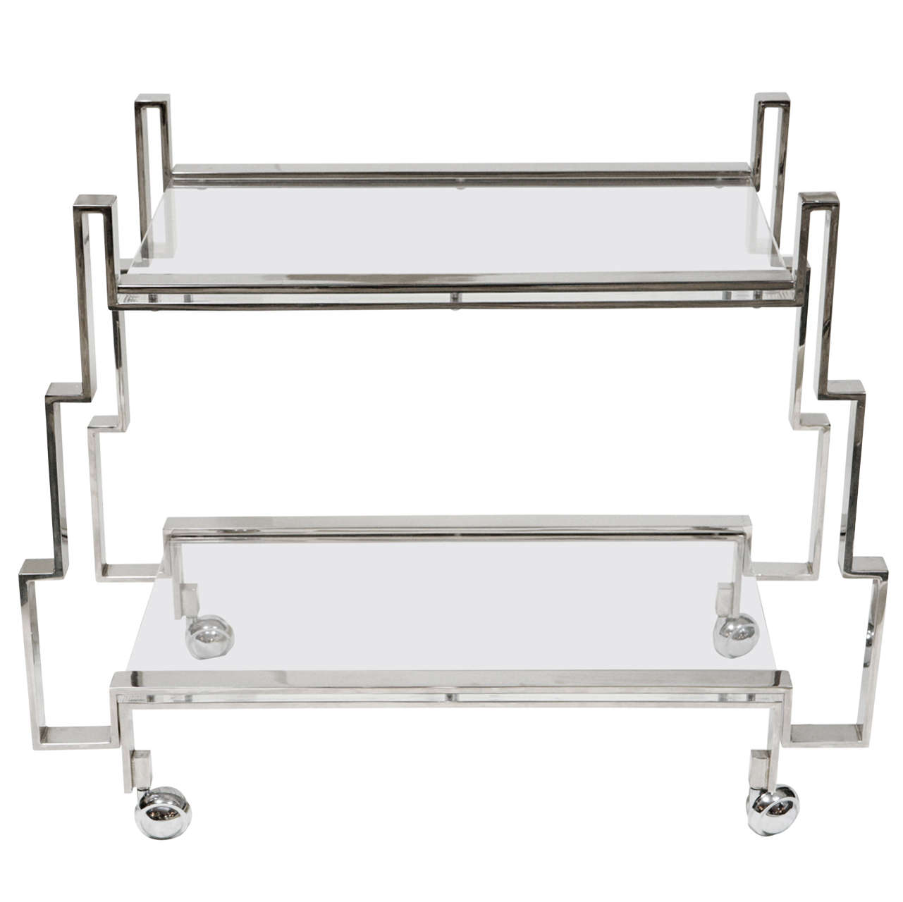Large lucite chrome and brass coffee table at 1stdibs - A Charles Hollis Jones Two Level Ziggurat Bar Cart At 1stdibs