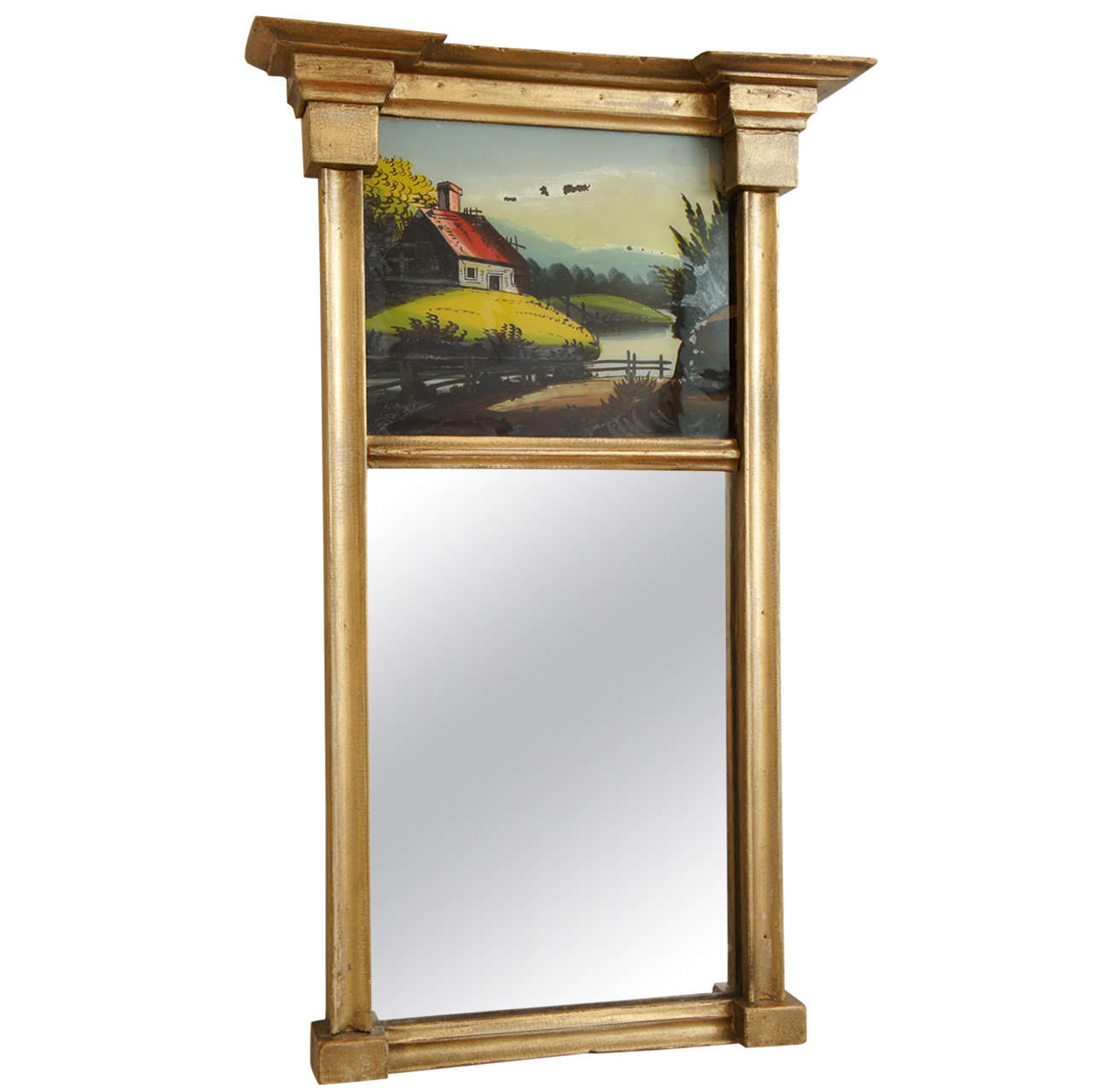 Mirror Hudson Valley Ny With Reverse Painting On Glass