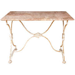 Arras France, Garden Table with Pink Marble Top