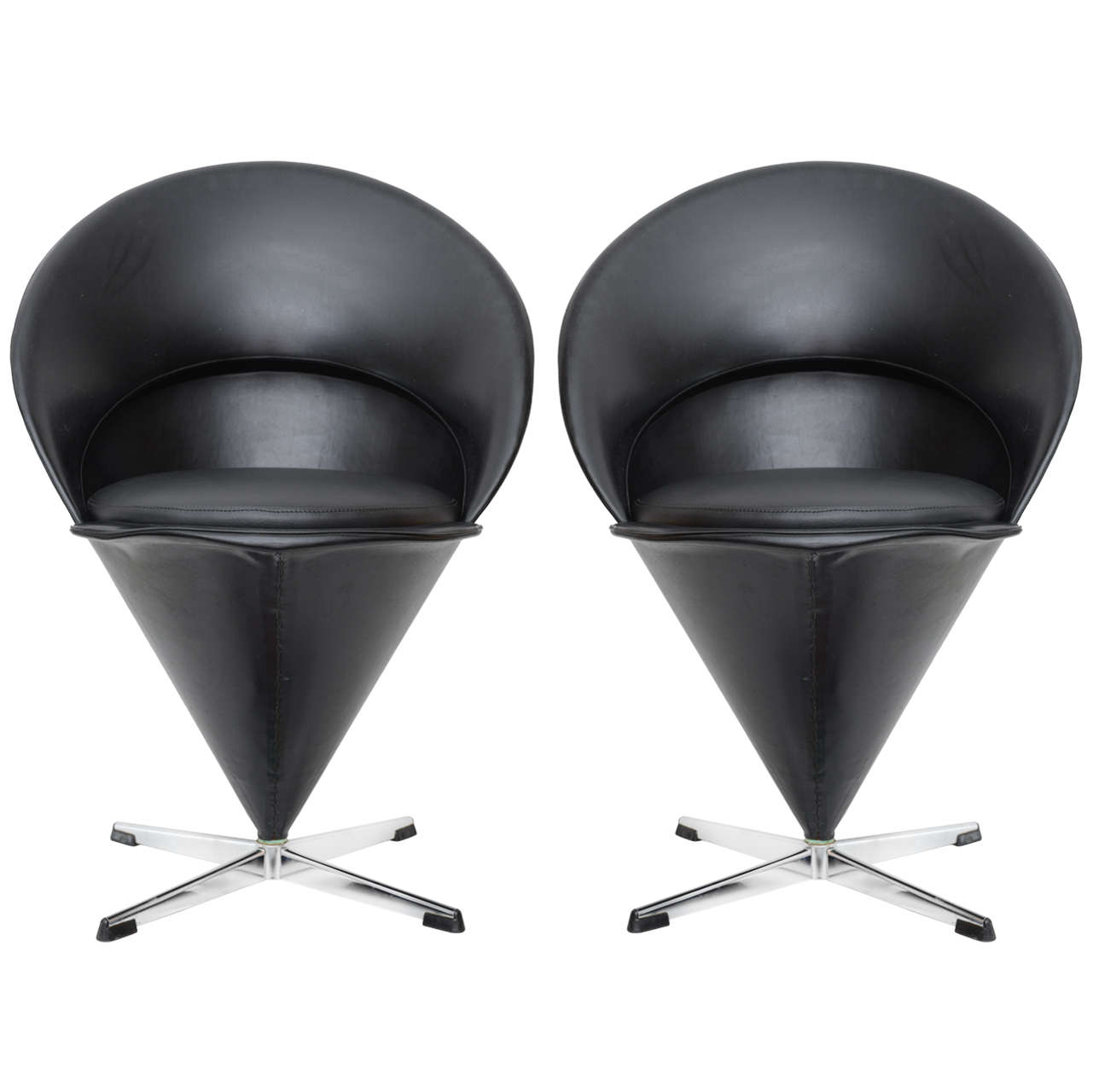 Original Mid Century Modern Verner Panton Cone Chairs At