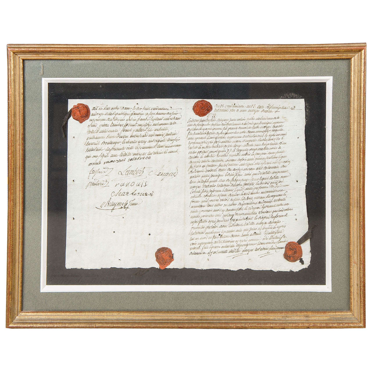 French 18th Century Framed Document