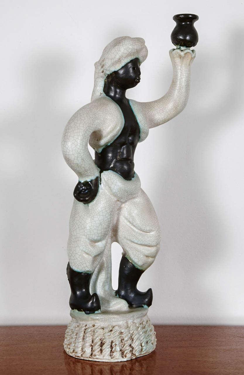 Circa 1945 Art Deco Ceramic Torchere by Georges Jouve 2