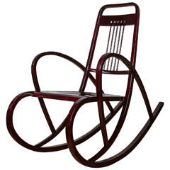 Viennese Secession Rocking Chair by Thonet, circa 1911