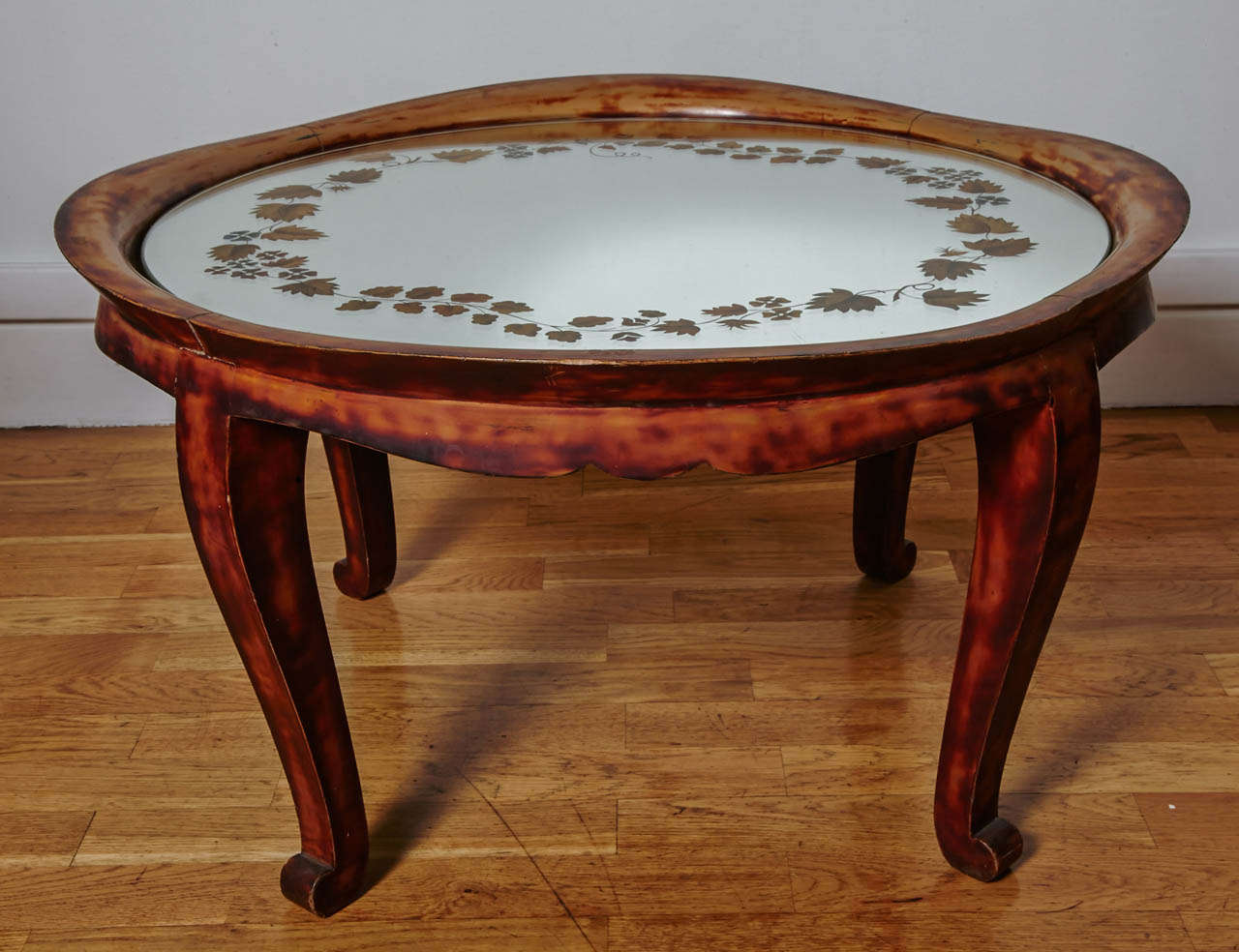 Low Coffee Table Or Guéridon In Irregular Turtle Shell Color Chinese Lacquer Basin Shape