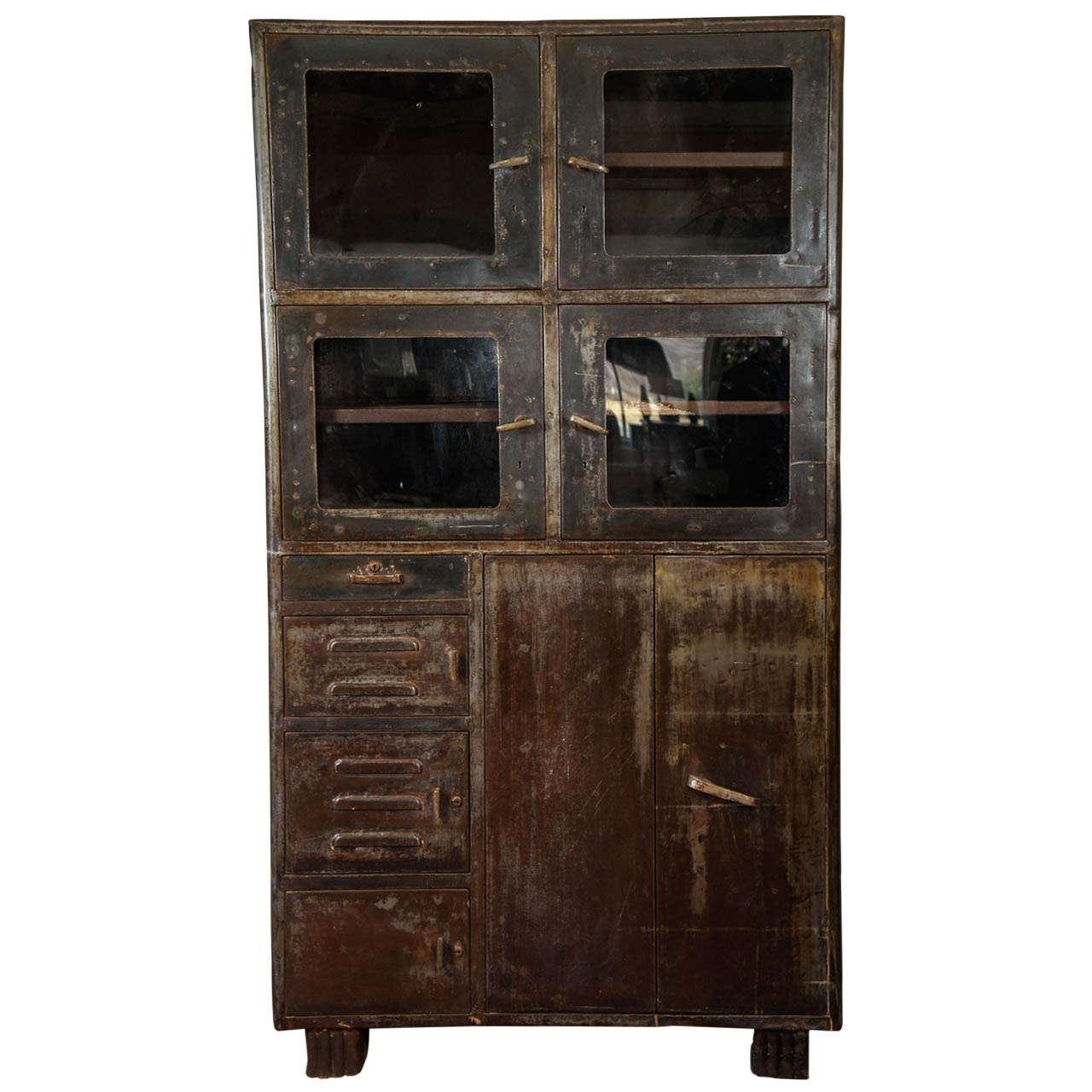 Vintage Metal Storage Cabinet At 1stdibs