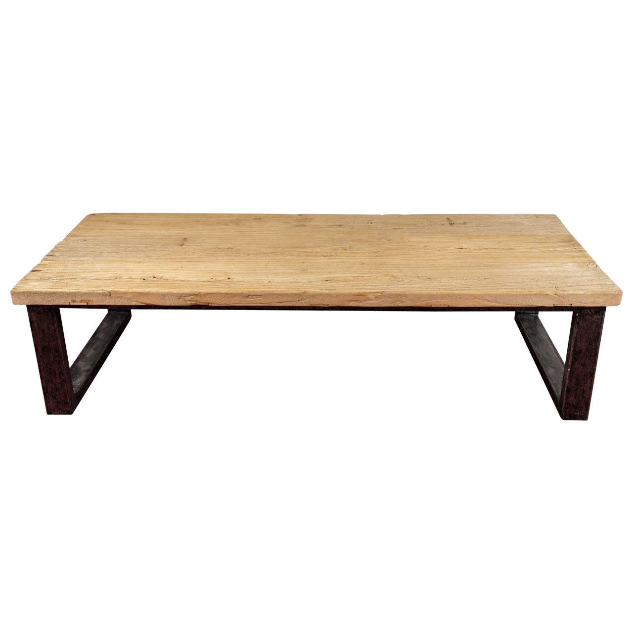 Industrial Style Teak Wood Coffee Table At 1stdibs