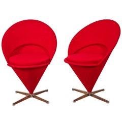 """Pair of """"K1 Cone Chairs"""" 1958 by Verner Panton"""
