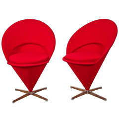 "Pair of ""K1 Cone Chairs"" 1958 by Verner Panton"