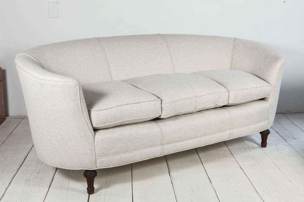oval back curved sofa in cream linen at 1stdibs. Black Bedroom Furniture Sets. Home Design Ideas