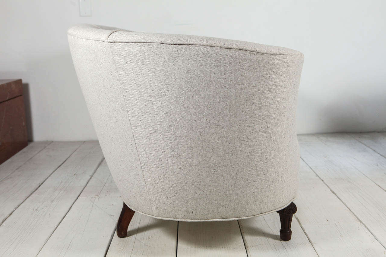 Oval Back Curved Sofa In Cream Linen At 1stdibs