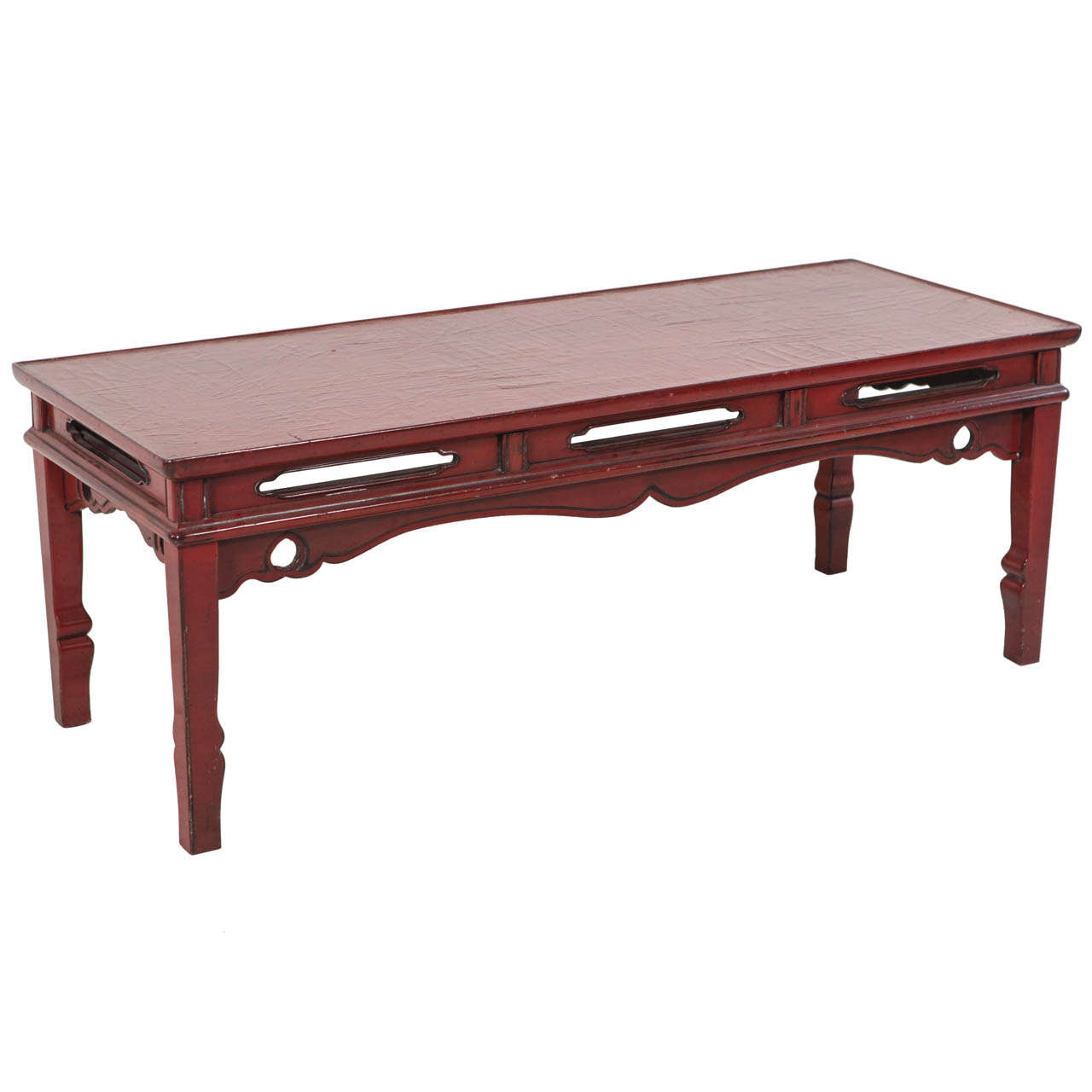 Red Lacquer Chinese Bench Coffee Table At 1stdibs