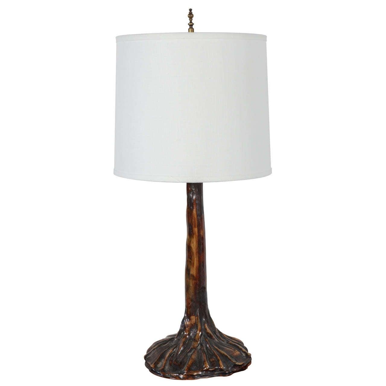 polished ceramic tree trunk table lamp at 1stdibs. Black Bedroom Furniture Sets. Home Design Ideas