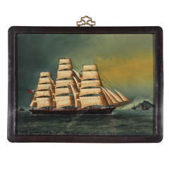 Reverse Painting of Ship on Glass