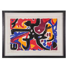 Large Signed Abstract Graphic Lithograph