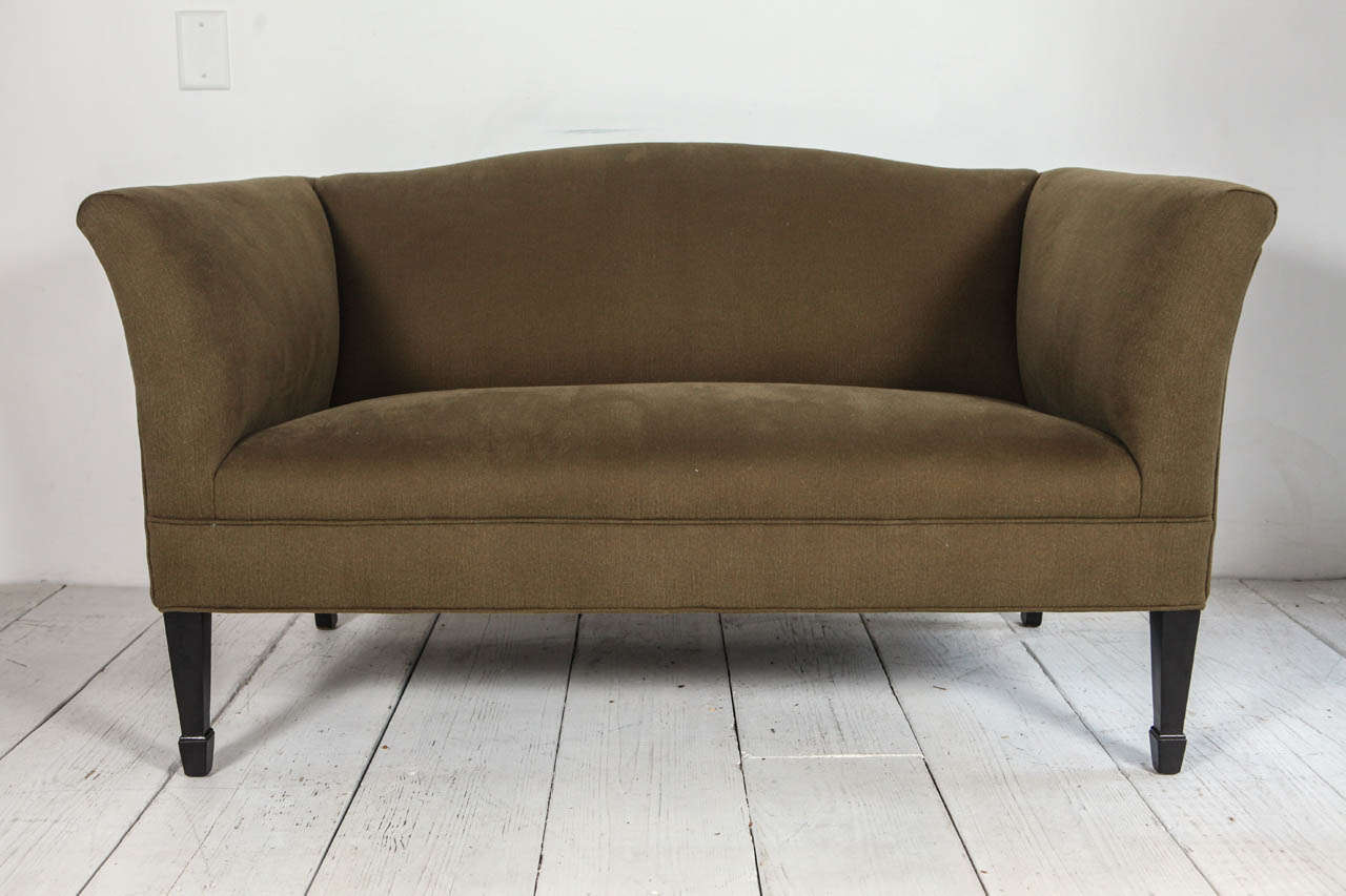 Tuxedo style sofa reupholstered in olive cotton denim.