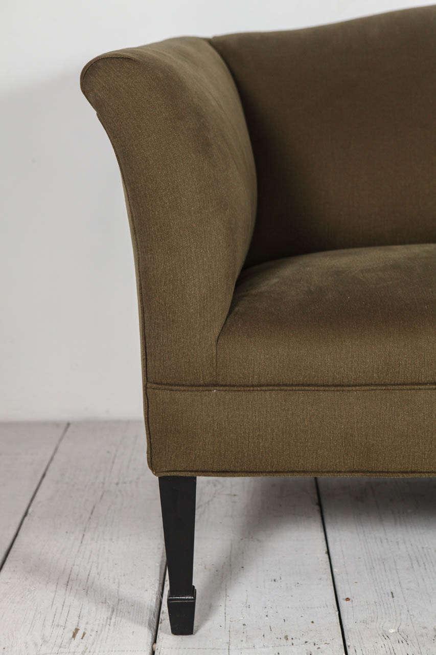 Mid-Century Modern Tuxedo Love Seat in Olive Denim For Sale