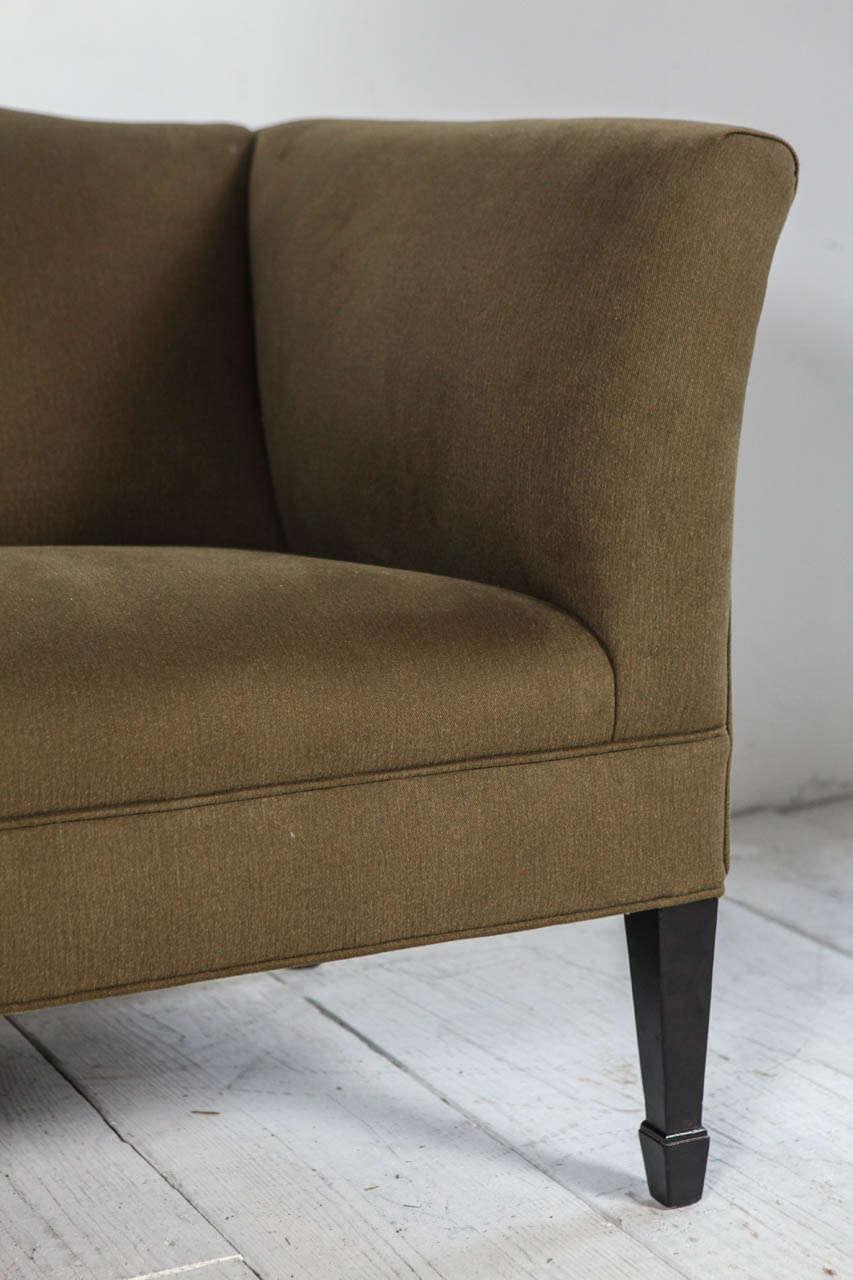 American Tuxedo Love Seat in Olive Denim For Sale