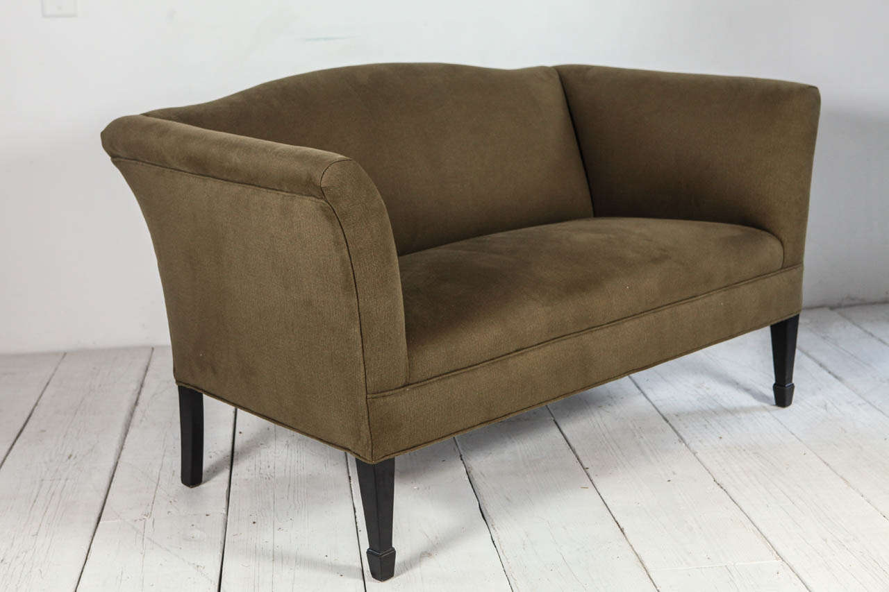 Tuxedo Love Seat in Olive Denim In Excellent Condition For Sale In Los Angeles, CA
