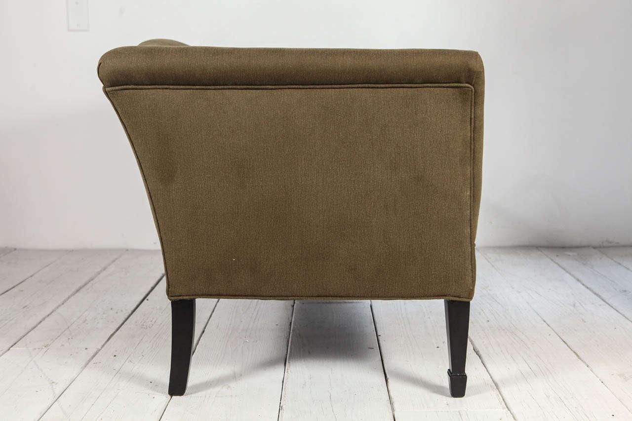 Mid-20th Century Tuxedo Love Seat in Olive Denim For Sale