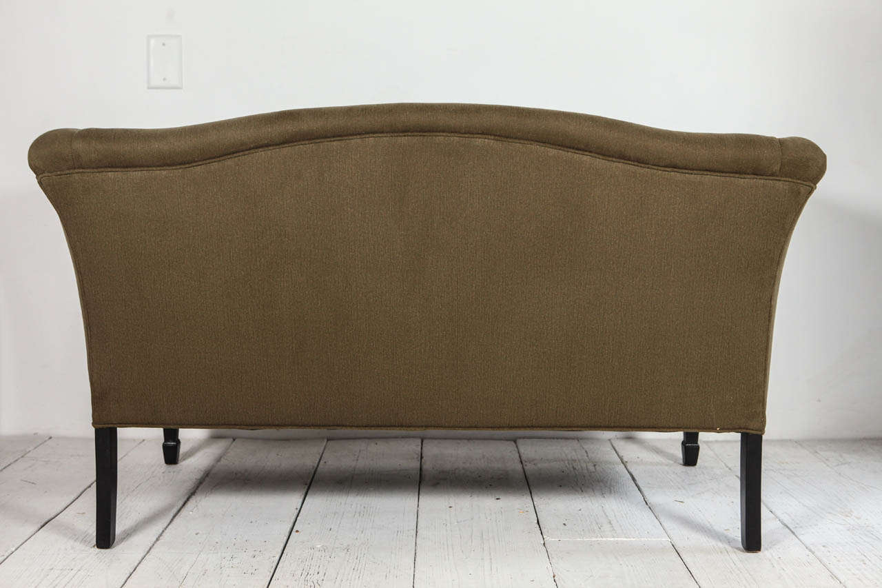 Tuxedo Love Seat in Olive Denim For Sale 2