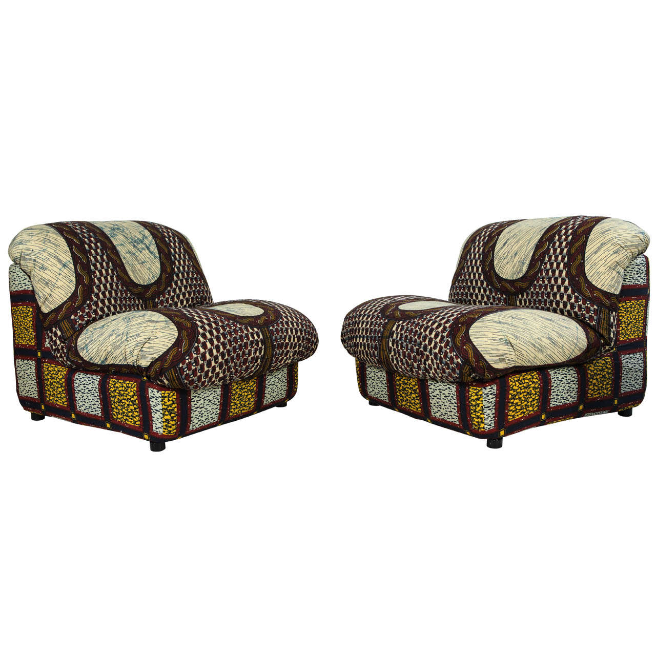 Italian Leather Furniture South Africa: Italian Lounge Chairs In Graphic African Fabric At 1stdibs