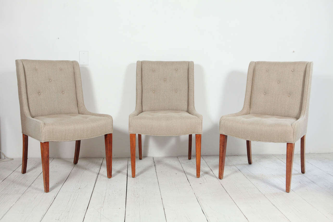 set of six tufted dining chairs in hemp linen at 1stdibs