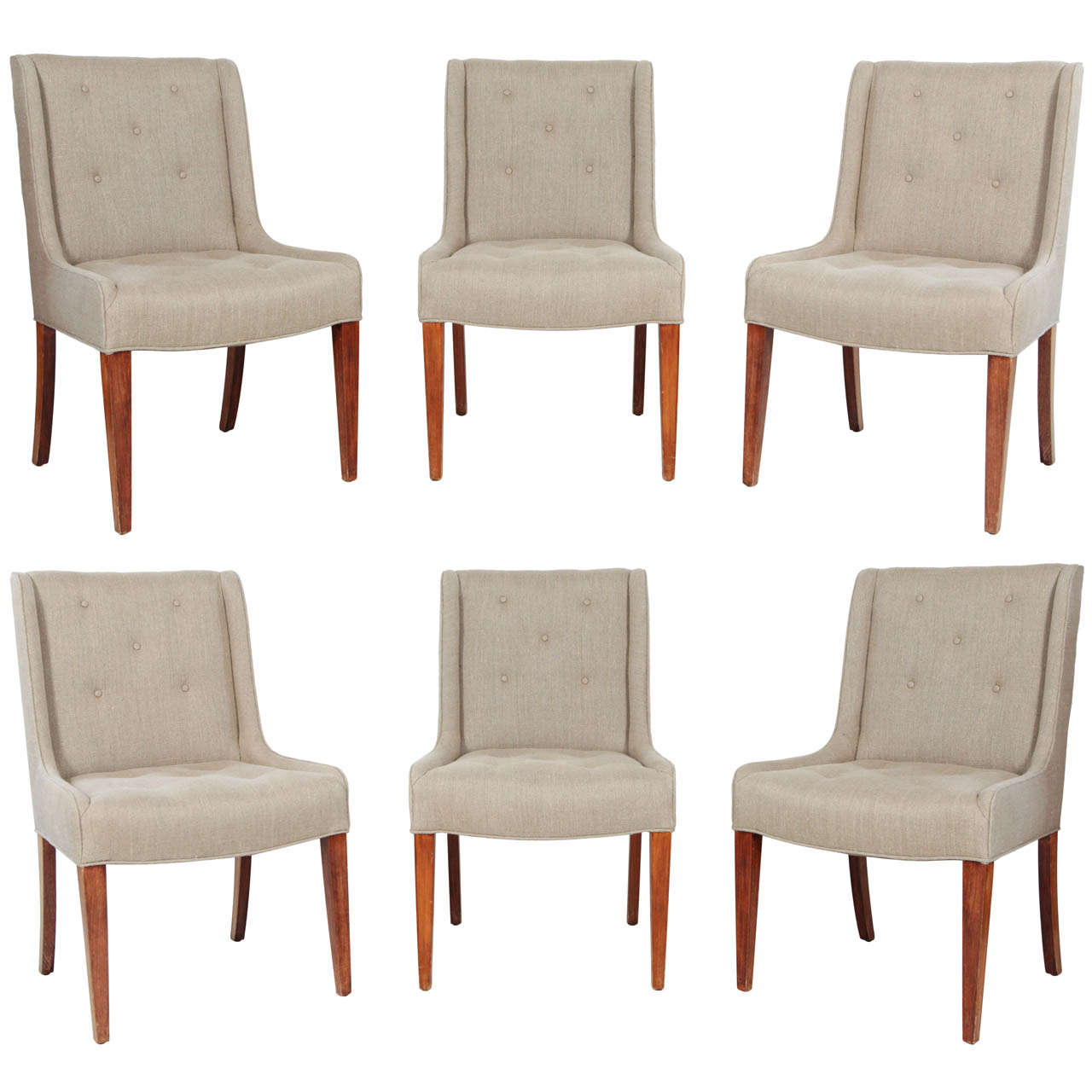 Set Of Six Tufted Dining Chairs In Hemp Linen 1
